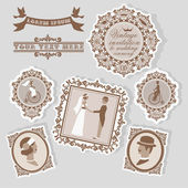 Vintage wedding invitation with people silhouettes in frames — Stock Vector