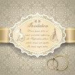 Stock Vector: Vintage wedding invitation