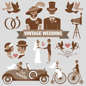 Vintage wedding set — Stock Vector