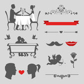 Set of valentines day and wedding vintage design elements, designers toolkit — Stock Vector
