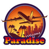 Paradise travel label — Stock Vector