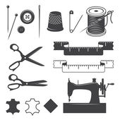 Set of sewing desinged elements — Vector de stock