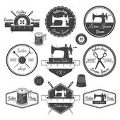Set of vintage tailor labels, emblems and designed elements. Tai — Stock Vector