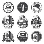 Set of vintage laundry emblems, labels and designed elements. — Stock Vector