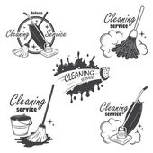 Set of cleaning service emblems, labels and designed elements. — Stock Vector