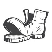 Vector illustration of old boot. Black and white — Vettoriale Stock
