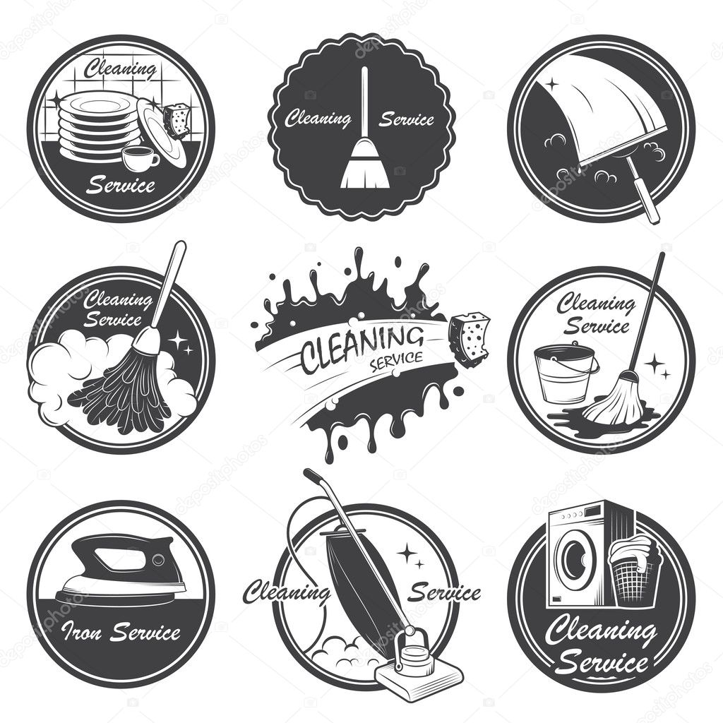cleaning service stock vectors royalty cleaning service set of cleaning service emblems labels and designed elements stock vector