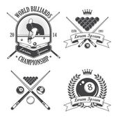 Set of billiards emblems labels and designed elements — Stock Vector