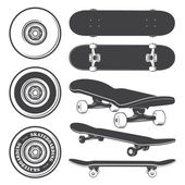 Set of skateboards and skateboarding wheels. — Stock Vector
