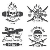Set of skateboarding emblems, labels and designed elements. Set  — Stock Vector