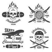 Set of skateboarding emblems, labels and designed elements. Set — Stock Vector