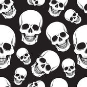 Black and white skull seamless pattern — Stock Vector