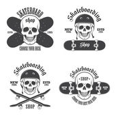 Set of skateboarding emblems, labels and designed elements. Set  — ストックベクタ