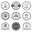Set of vintage black and white bakery emblems, labels and design — Stock Vector #50712799