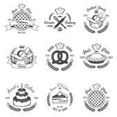 Conjunto de emblemas de panadería vintage blanco y negro, las etiquetas y diseño — Vector de stock