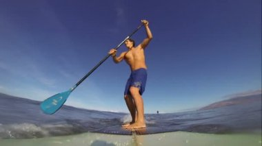POV Stand Up Paddle Surfing — Vídeo de Stock