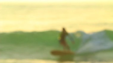 Silhouette Surfer Girl Riding Wave — Stock Video