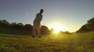 Young Man Golfing At Golf Course — Stockvideo