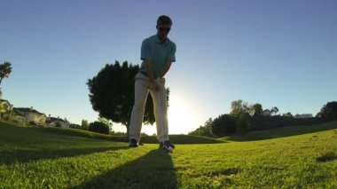 Young Man Golfing At Golf Course — Video Stock