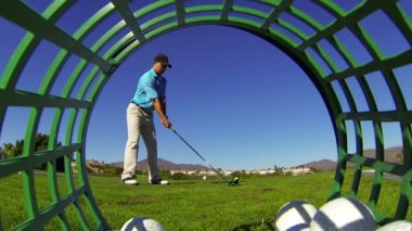 Man Golfing Hitting Driver At Golf Course — Stock Video