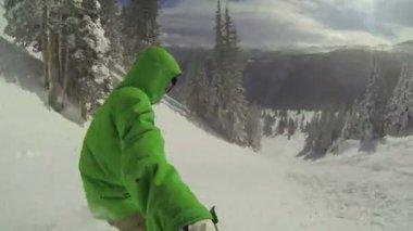 POV Man Snowboarding HD — Stock Video