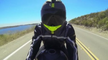 POV Man Riding Motorcycle — Stock Video