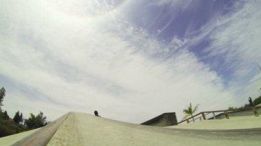 Slow Motion Extreme Skateboarder In Skatepark — ストックビデオ