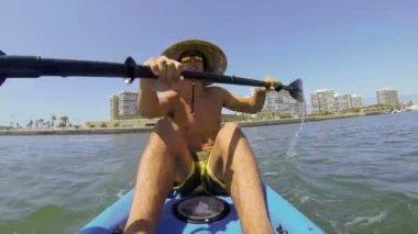 POV Man Kayaking In Ocean — Stock Video