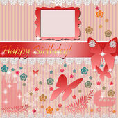 Baby girl arrival card — Stock Photo