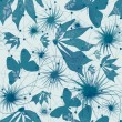 Floral pattern on blue background — Stock Photo