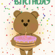 Happy birthday card with cute teddy bear — Stock Vector
