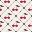 Seamless pattern with cherries and polka dot rhombus — Stock Vector
