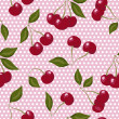 Seamless pattern with cherries on pink — Stock Vector