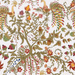 Fairy floral seamless pattern with beautiful birds and tree — Zdjęcie stockowe