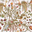 Fairy floral seamless pattern with beautiful birds and tree — 图库照片