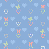 Seamless abstract pattern with hearts and butterflies — Stock Photo