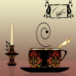 Black cup of coffee with candle — Stock Photo