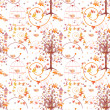Stock Photo: Nature seamless pattern with birds