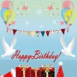 Stock Photo: Birthday card with gift box and birds