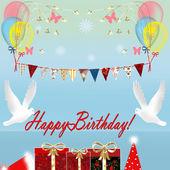 Doğum günü kartı hediye kutusu ve kuşlar — Stok fotoğraf