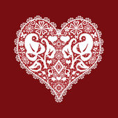 Lace heart valentines greeitng card — Stock Photo