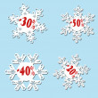 White snowflake sale with red percentage — Stock Photo