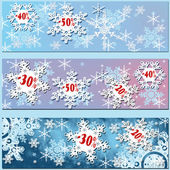 White snowflakes sale with red percentage — 图库照片