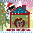 Christmas background with dogs — Stock Photo