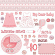 Stock Photo: Scrapbook baby shower girl set