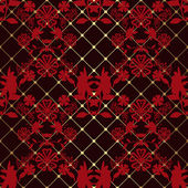 Red seamless lace pattern on black — Stock Photo