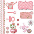 Scrapbook baby shower girl set design — Stock Photo