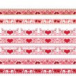 Red seamless lace pattern with hearts on white — Stock Photo