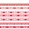 Stock Photo: Red seamless lace pattern with hearts on white