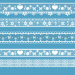 White seamless lace pattern on blue — Stock Photo #38009711